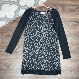 Loft Grey Leppard Print Dress Size Small